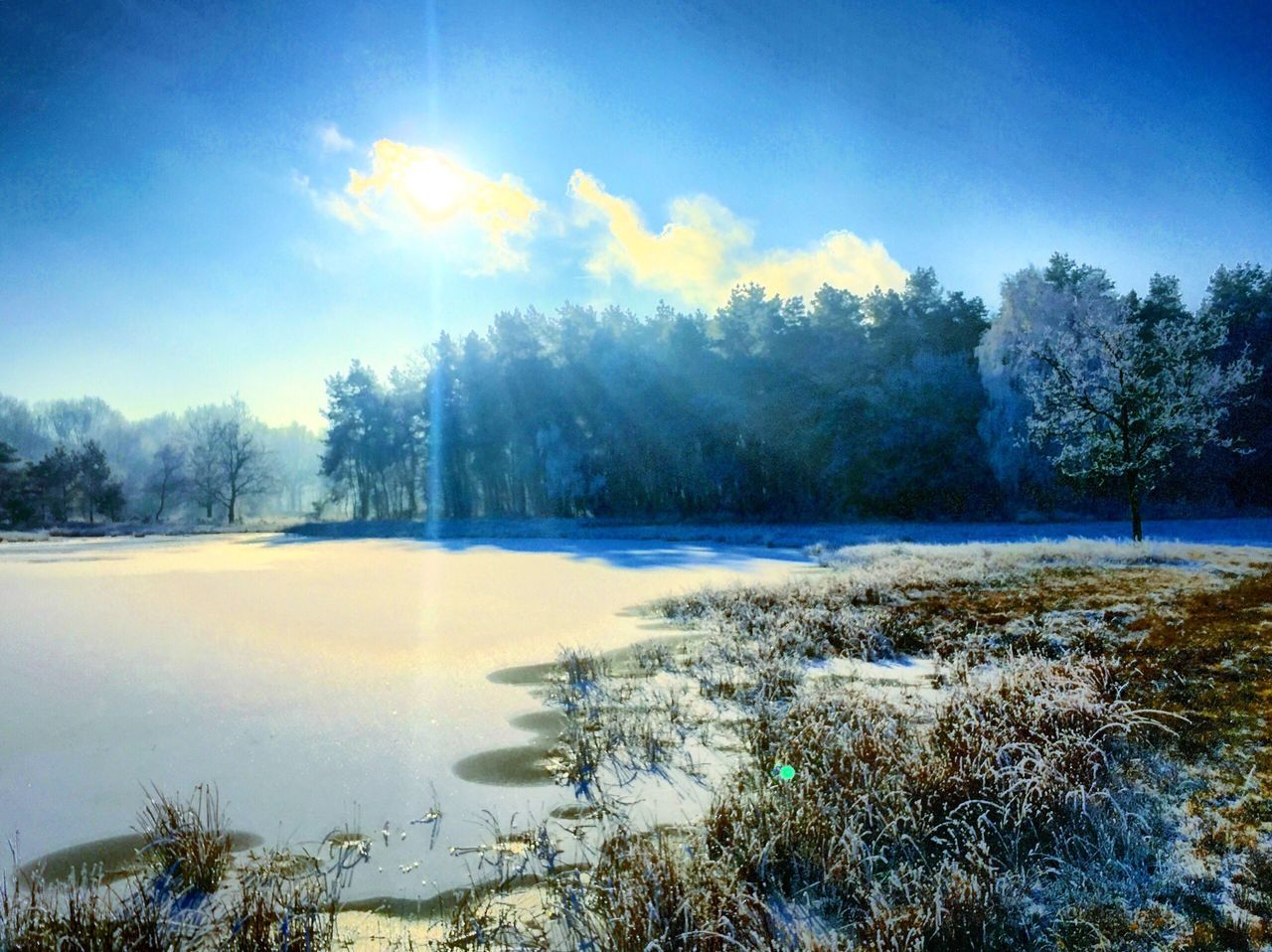 Winter scape Winter Cold Temperature Nature Beauty In Nature Snow Sky Tranquility Tranquil Scene Landscape Tree Outdoors No People Scenics Day Lake Hot Spring