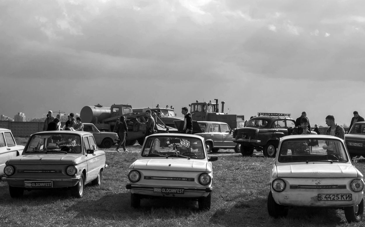 Old Car Fest. Zaporozhets ZAZ-968 Antique Blackandwhite Car Classic Cloud Cloud - Sky Day Farsta Kiev Land Vehicle Large Group Of Objects Mode Of Transport Monochrome Old Outdoors Parked Retro Sky Transportation Ukraine Vehicle Vintage Zaporozhets ZAZ-968