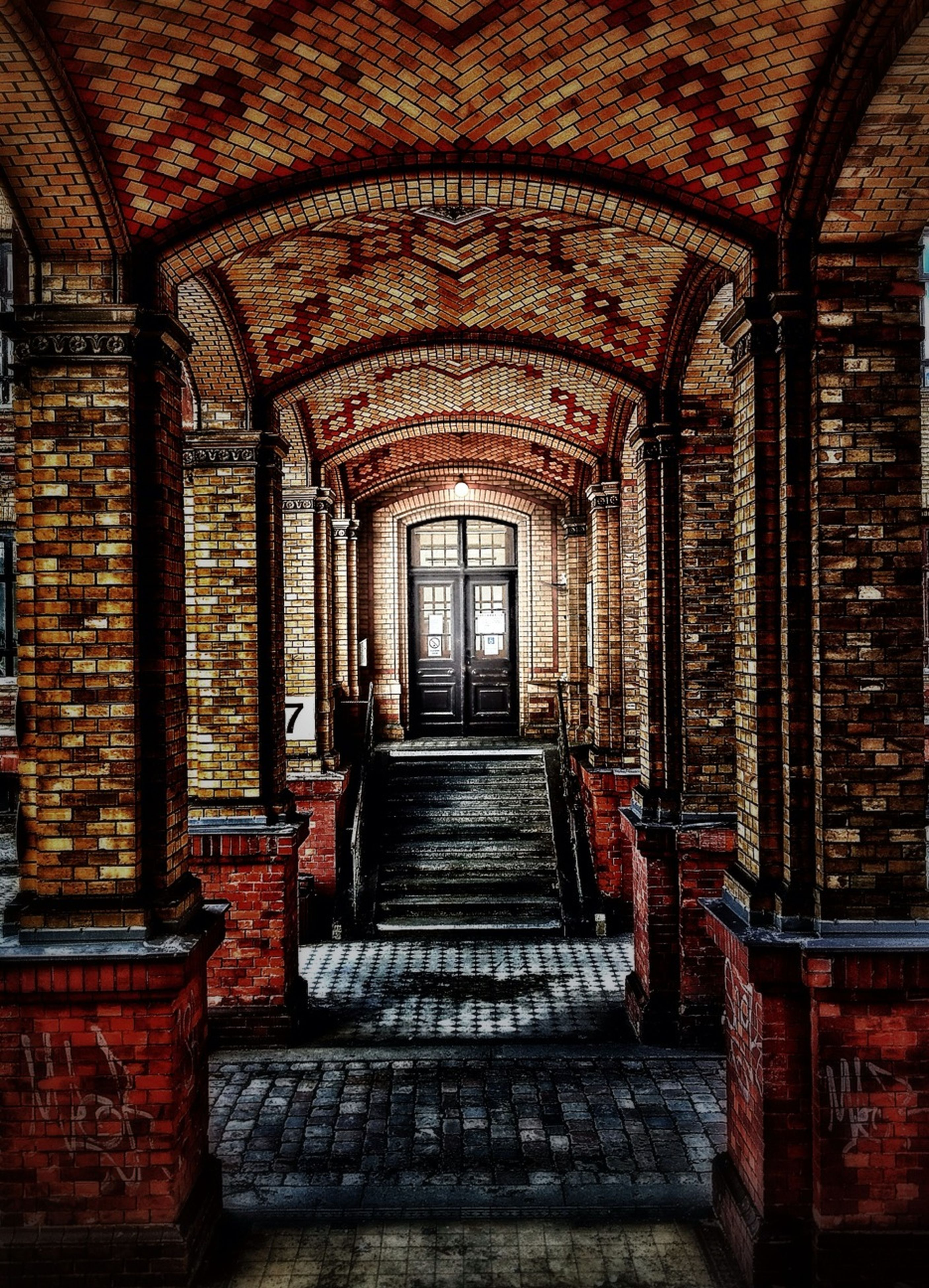 architecture, indoors, built structure, arch, steps, entrance, door, old, window, the way forward, house, building exterior, day, no people, brick wall, ceiling, closed, steps and staircases, staircase, history
