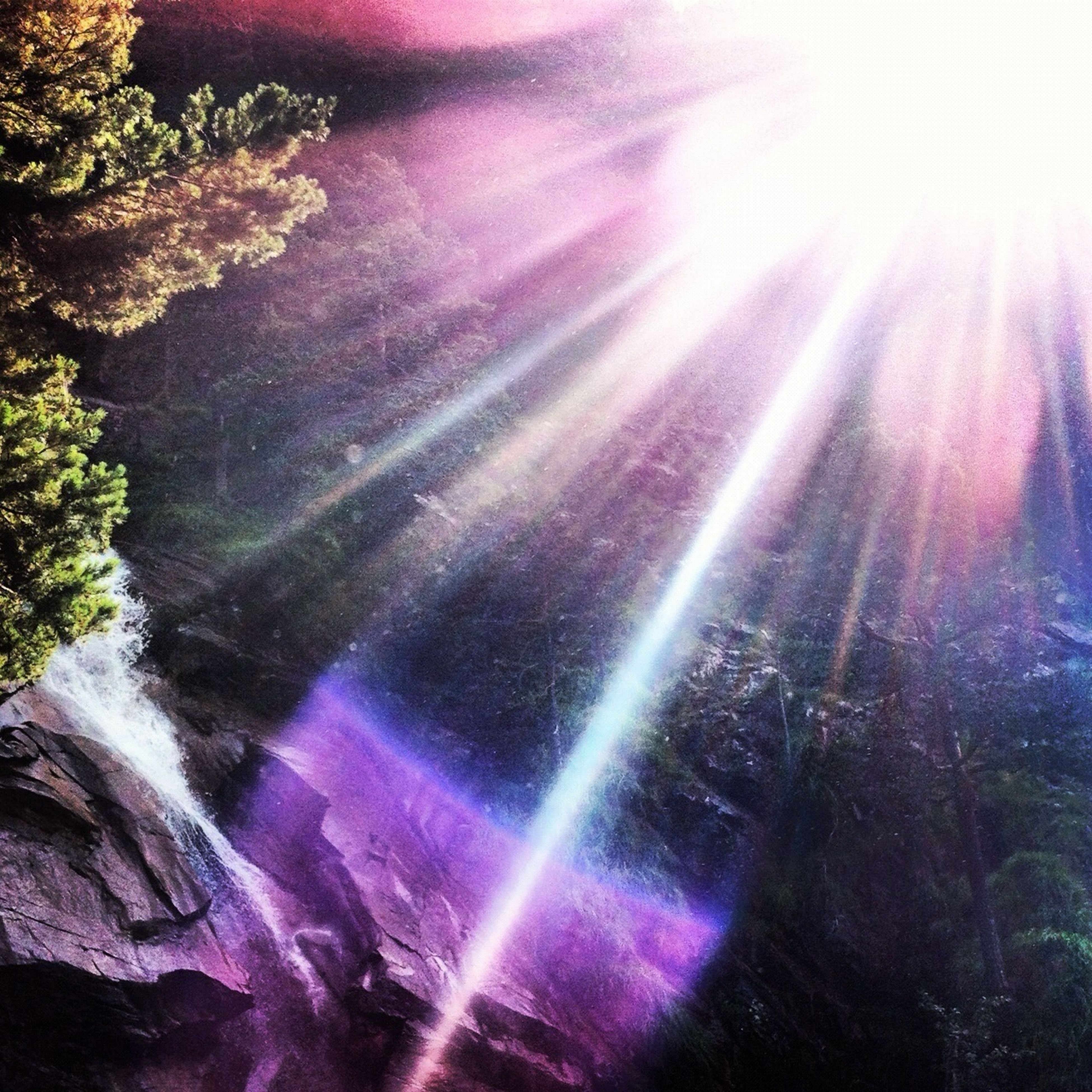 beauty in nature, sunbeam, lens flare, sunlight, nature, sun, multi colored, backgrounds, outdoors, glowing, no people, tranquility, scenics, full frame, low angle view, tranquil scene, day, pink color, motion, bright