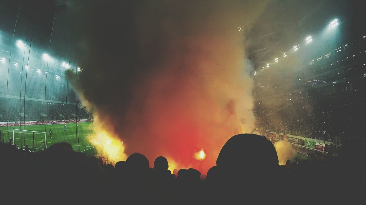 People Night Human Body Part Pyromania Pyrotechnic Sport In The City MYLIVE'❤ Moscow City Arena Stadium