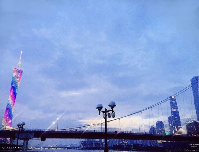 Transportation Built Structure Sky City Bridge Suspension Bridge Tower Cloud Outdoors Architecture Colorful Beautiful EyeEm EyeEm Gallery Hello World Fine Arts City Life Urban Check This Out Perspective Cityscapes Sunset Night Night Lights Night Photography