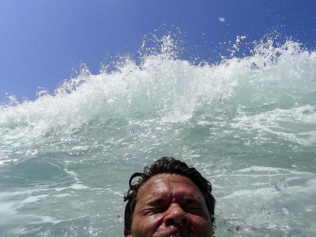 a hugh wave suprise me Athleisure Blue Close-up Headshot Leisure Activity Lifestyles Splashing Surprise Vacations Wave Waves Crashing