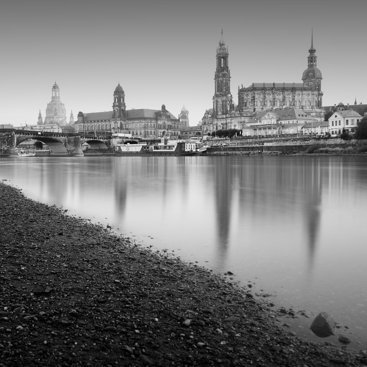 Dresden Oldtown in black and white Architecture Bridge - Man Made Structure Building Exterior Built Structure City Cityscape Connection Cultures Day Dresden Fine Art Germany History Long Exposure No People Outdoors Philipp Dase Reflection River Saxony Sky Travel Travel Destinations Urban Skyline Water