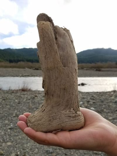 Wooden Boot Holding Wooden Structure Cool Wooden Piece Imagination Country Boots What Does This Look Like River Boot Human Body Part Water Outdoors Day Nature Holding Close-up