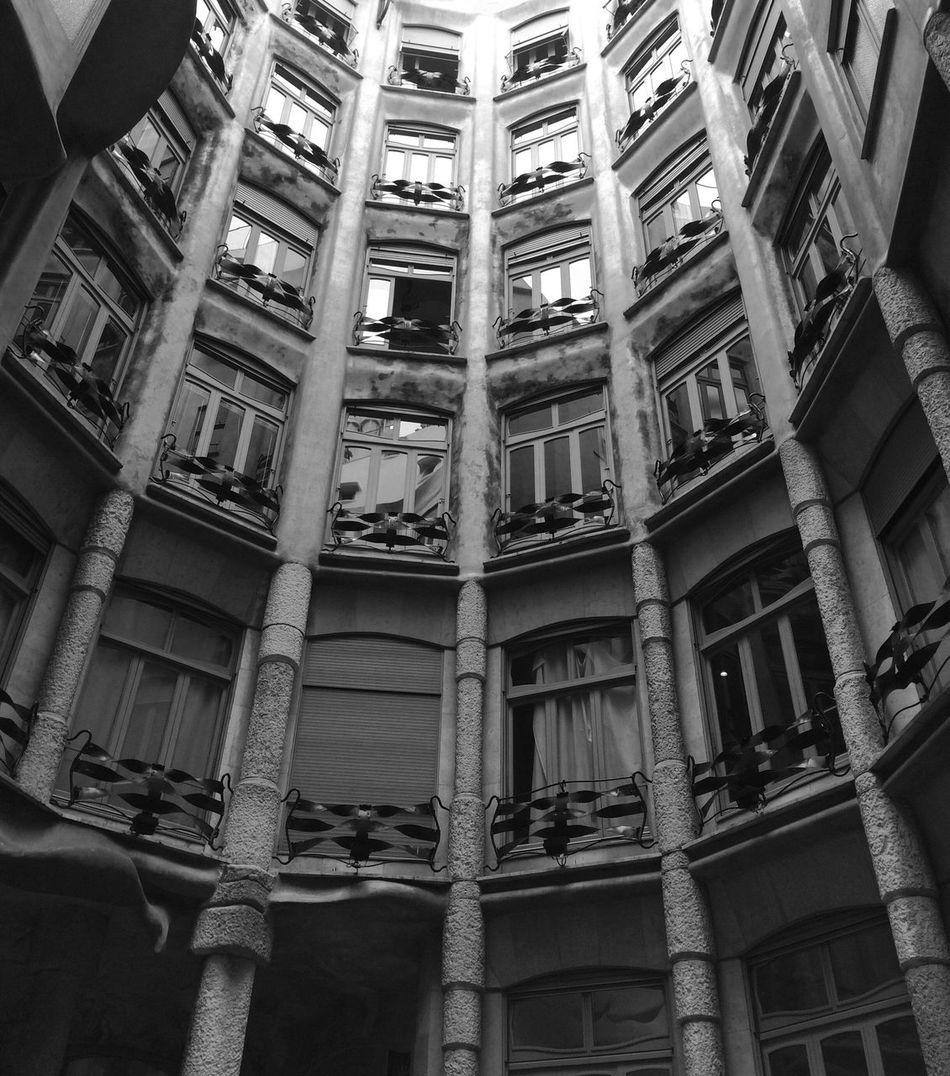 Inner Court Inner Courtyard Inner Yard Internal Windows Building Architecture Gaudi SPAIN Barcelona Black And White Black & White Vintage Famous Place