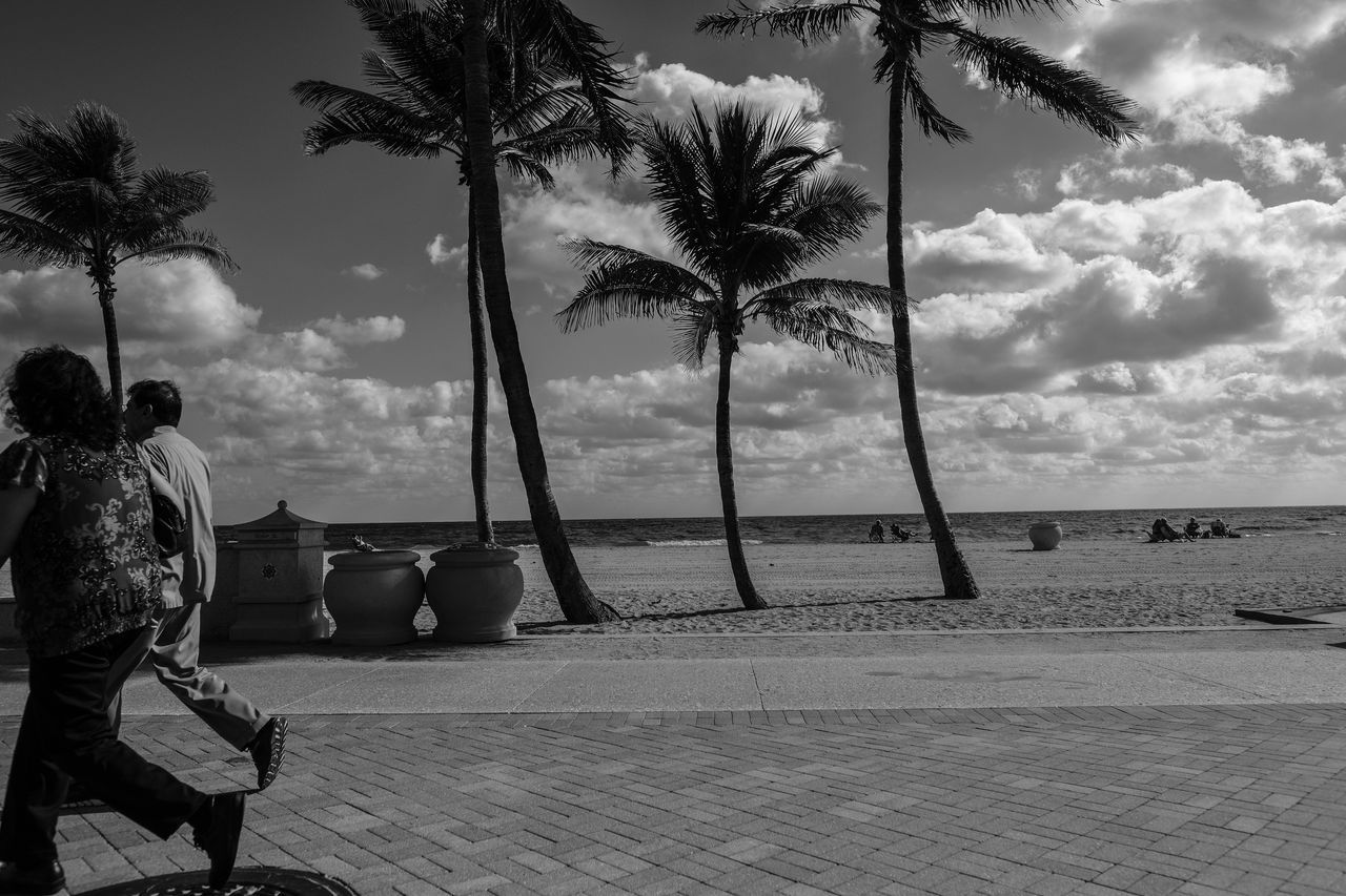 Quickly Beach Beach Photography Beauty In Nature Blackandwhite Photography Cloud - Sky Day Florida Life Fujifilm_xseries Horizon Over Water Nature Outdoors Palm Tree People Photographyisthemuse Real People Sand Scenics Sea Sky Tranquil Scene Tree Tree Trunk Tropical Climate Vacations Water