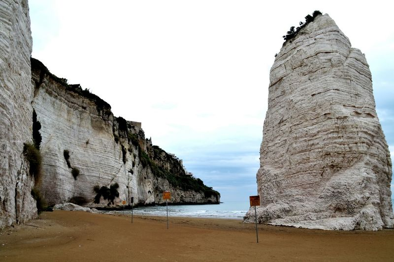 Vieste Sea Beach Cloud - Sky Sand Rock - Object Nature Outdoors Landscape Sky Day No People Nice Gargano Italia Italy Vieste Puglia Italy❤️