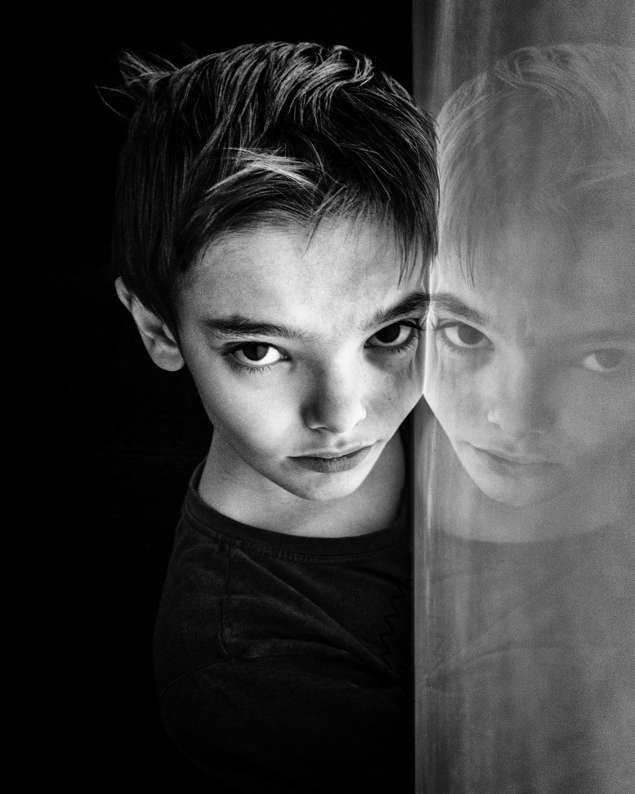 Double... Children Photography Human Face Facial Expression Portraits Of EyeEm Studio Shot Portrait Photography Portrait Black And White Monochrome Mysterious Model Reflection