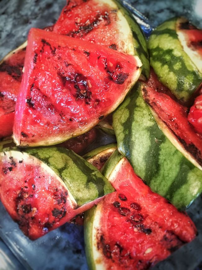 Summer fav - grilled watermelon. Close-up Focus On Foreground Food Freshness Fruit Grilled Grilled Food Healthy Eating Healthy Lifestyle Indulgence Meal No People Organic Ready-to-eat Red Rind Selective Focus SLICE Still Life Summer Food Temptation Watermelon