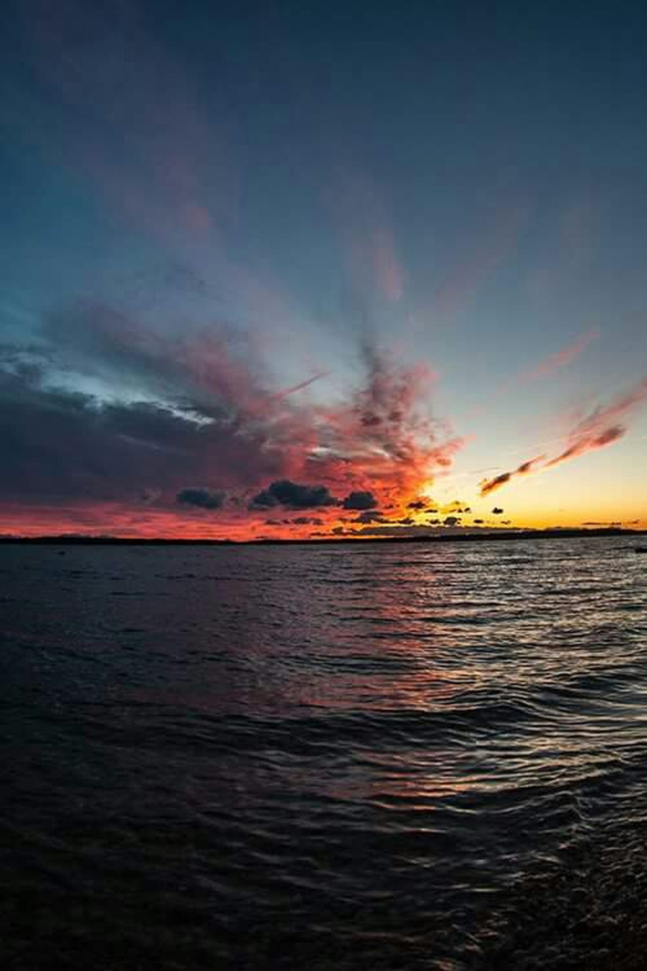 water, sea, sunset, scenics, tranquil scene, sky, horizon over water, beauty in nature, tranquility, waterfront, idyllic, nature, cloud - sky, rippled, reflection, cloud, seascape, orange color, outdoors, dusk