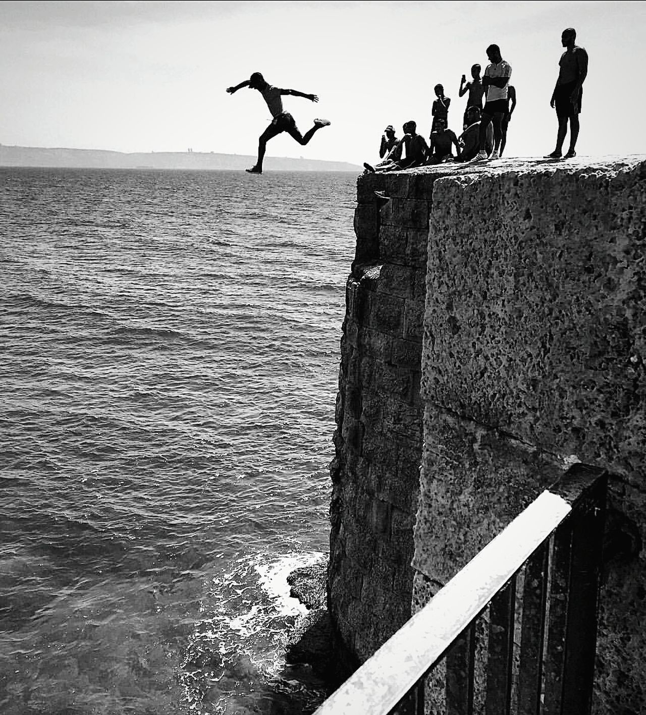 CliffJumping EyeEm Best Shots EyeEm Best Shots - Black + White Israel Travel Travel Photography Cliffjump Horizon Blackandwhite Monochrome Silhouette Sea People People Photography EyeEm Bnw