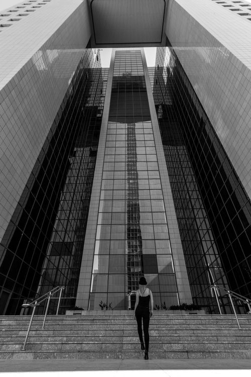 I'm Gonna Make It Architecture Black & White Blackandwhite Building Bw City City Life Glass Glass - Material Hanging Out Modekungen Office Building Skyscraper Stairs Stairways Urban