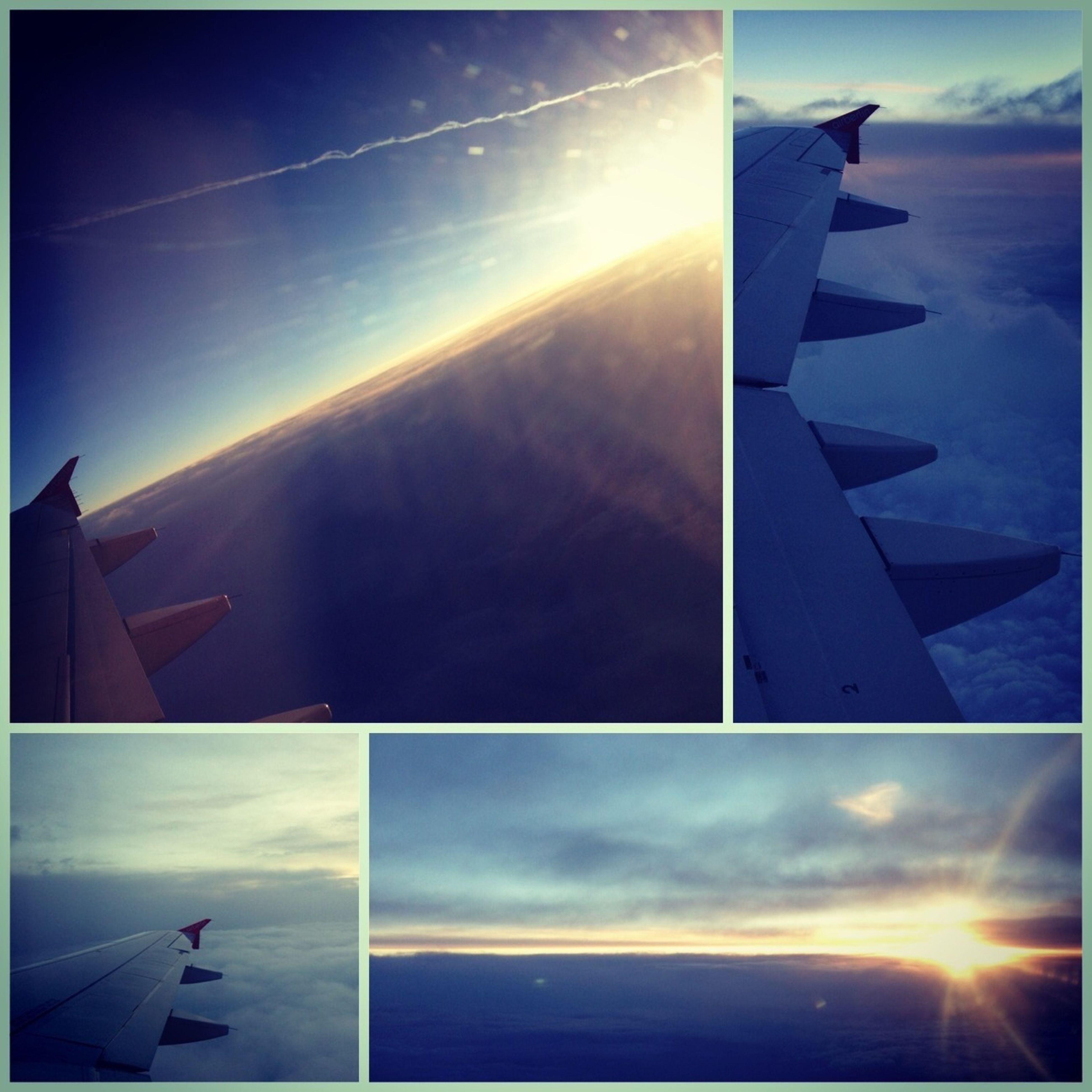 transportation, airplane, sky, aircraft wing, flying, sun, air vehicle, mode of transport, sunset, sunlight, part of, cloud - sky, vapor trail, cropped, scenics, travel, beauty in nature, journey, sunbeam, cloud