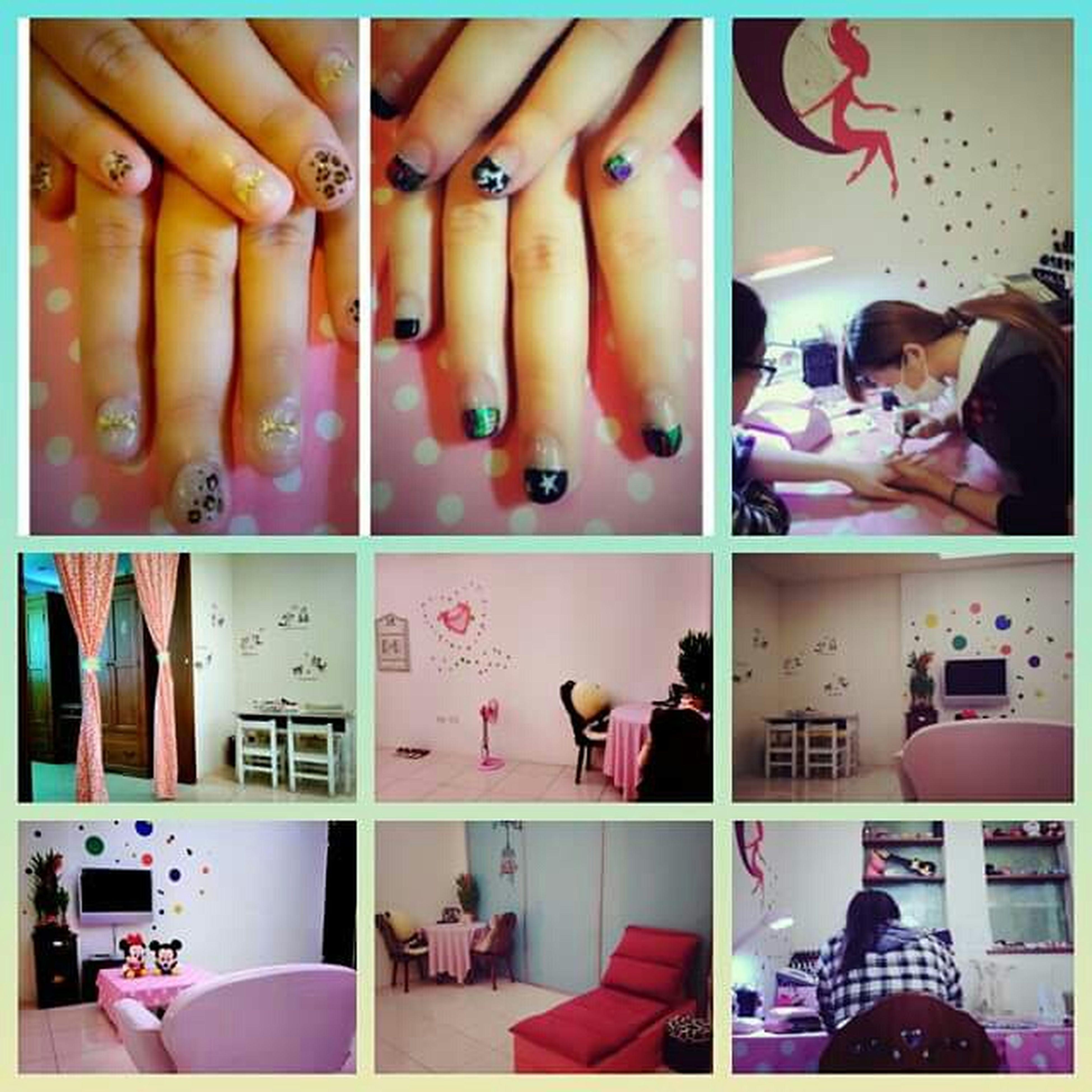 第一次做指甲,真好玩!想要的元素都有了,開心~♥Angel美甲 Nail Art Nail Salon Sis❤ Relax 初體驗 光療指甲 豹紋 蝴蝶結 鉚釘