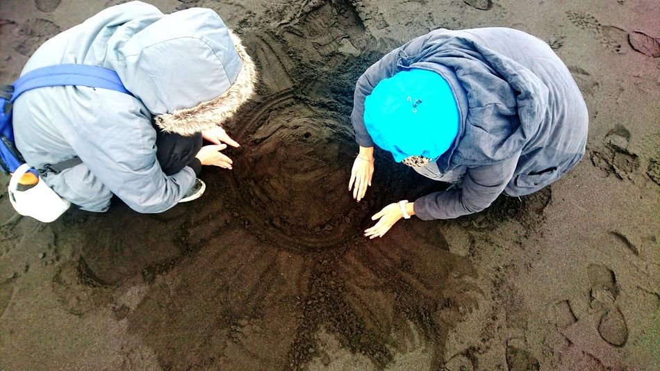 Playmates Play Time On The Beach Sand Art Sand Winter Boy Girl Dark Sand Dark Sand Beach Ring Road Vik Iceland Iceland Trip Iceland Memories Nature Travel Photography On The Way EyeEm Best Edits Eyeem Market EyeEm Gallery Enjoying Life Special Moment Travel Building