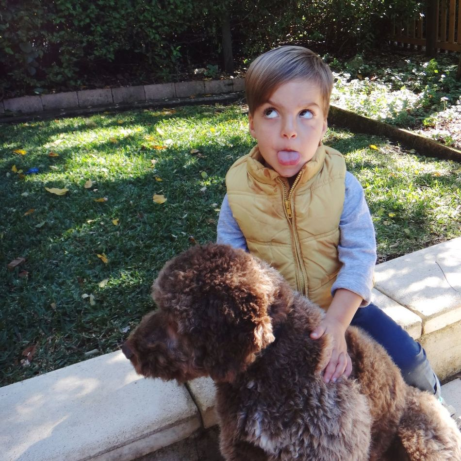 Boy Child with his Pet Dog Pulling Faces  Friends Friendship Canine Portrait Children Childhood Youth Kids Family Kid Dogs Pets Lagotto Romagnolo Things I Like The Portraitist - 2016 EyeEm Awards LaGottoRomagnolo Two Is Better Than One
