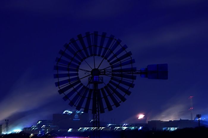 Duisburg Night Illuminated Low Angle View Sky Arts Culture And Entertainment Cloud - Sky Colour Your Horizn Building Exterior Built Structure No People Blue Architecture Outdoors City