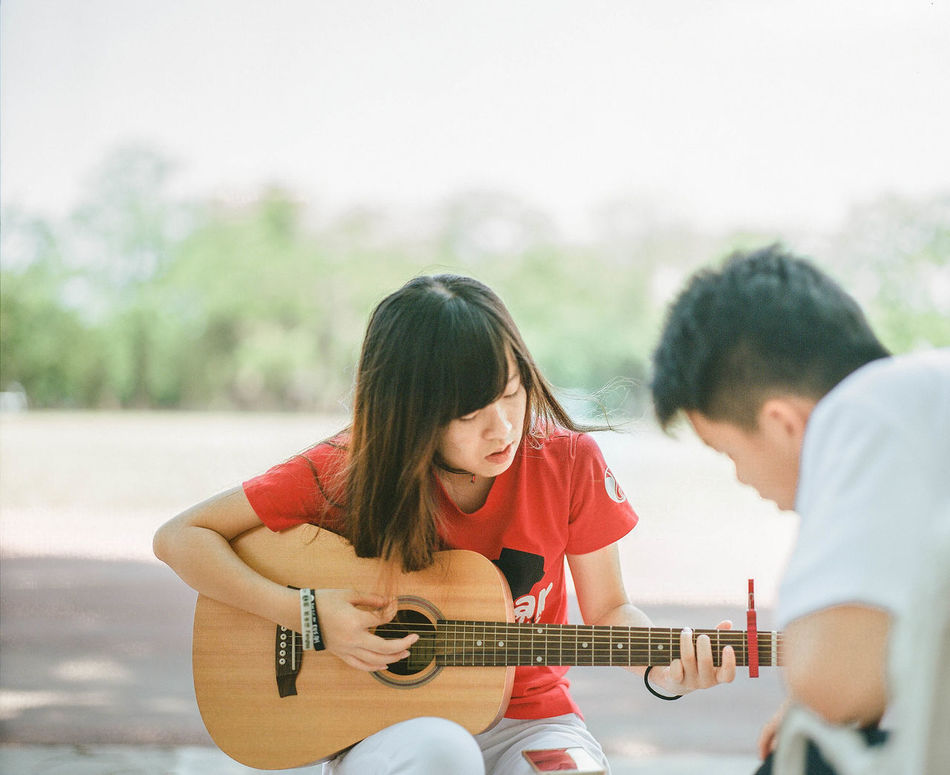 Beautiful stock photos of gitarre, music, musical instrument, playing, two people