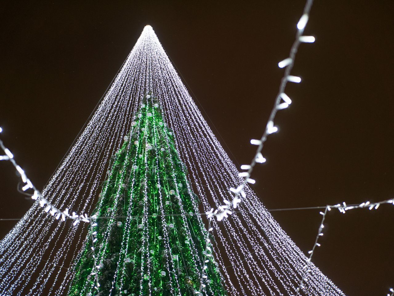 Architecture Built Structure Christmas Christmas Decoration Christmas Ornament Christmas Tree Green Color Illuminated Low Angle View Night No People Outdoors Sky Tree Tree Topper Vilnius Xmas Tree