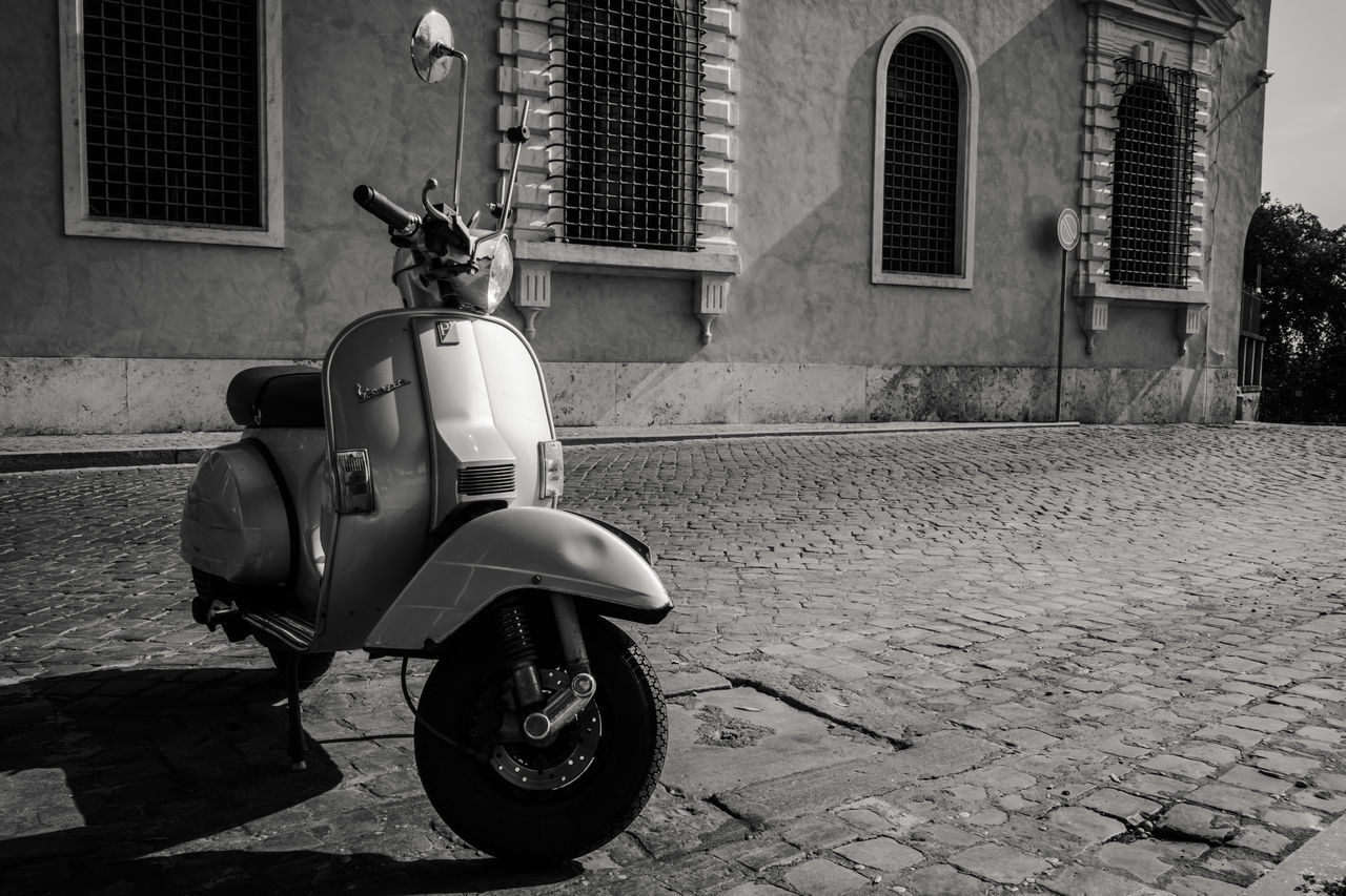 Black And White City Street Day Mode Of Transport Motorcycle No People Outdoors Scooter Scooter Stationary Street Transportation Vespa Vintage Neighborhood Map