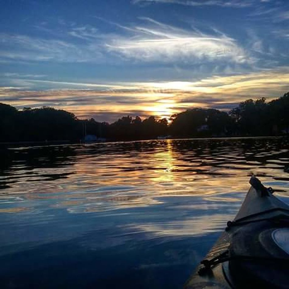 Sunset And Clouds  On The Water No People Kayaking In Nature Beautiful Colors Water Reflections My Backyard Oasis California MD