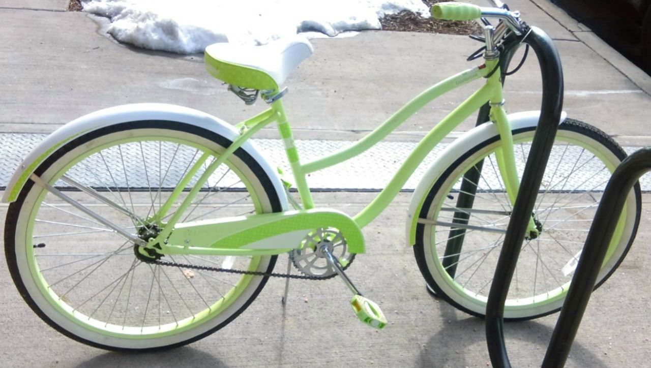 Beach Cruiser Bicycle Design Lime Green All Day Everyday  Parked Retro Retro Bike Stationary