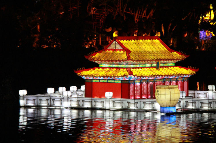 China Chineese Lantern Culture Gardens Of Light Illuminated Lantern Lanterns In The Dark Majestic Night Reflection Tranquil Scene Water