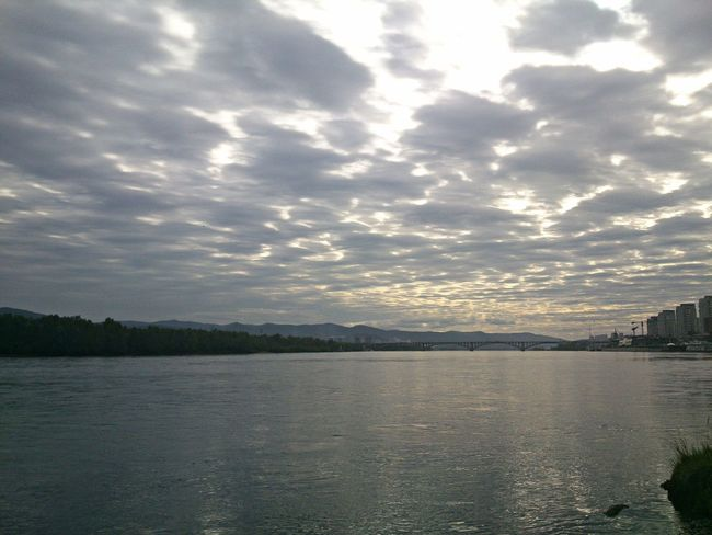 Calm Clouds Cloudy Enisey Evening Evening Sky Horizon Horizon Over Water Outdoors River Russia Shades Of Grey Siberia Sky Sunset Tranquil Scene Tranquility Water