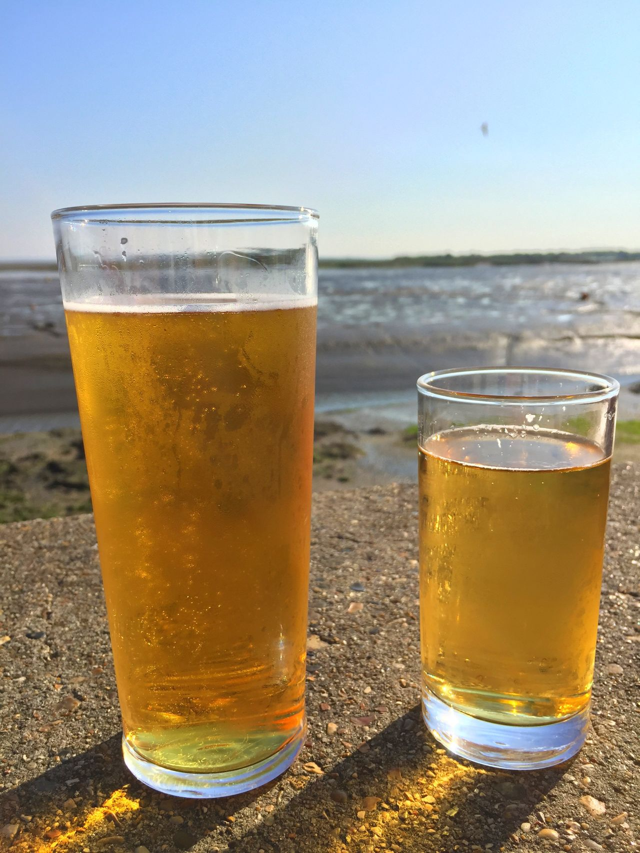 Drink Refreshment Drinking Glass Beer - Alcohol Beer Glass Food And Drink Alcohol Beer Frothy Drink Freshness Pint Glass Close-up No People Outdoors Day Sky Thames Estuary Old Leigh