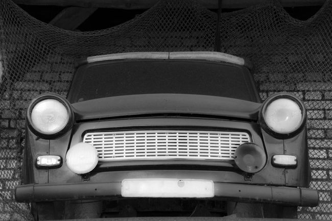 An old vintage car. Antiquated Background Black & White Black And White Blackandwhite Bw Bw_collection Car East Germany Foretime GDR Germany Illuminated Museum Piece No People Old Oldtimer Past Small Car Trabbant Trabbi Vehicle Vintage Vintage Cars Yesteryear