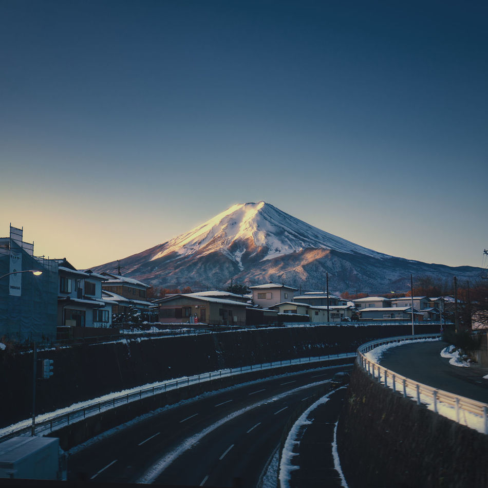 Mt. Fuji sunrise,Japan. Architecture Bridge - Man Made Structure City Cityscape Clear Sky Cold Temperature Fuji Fujisan Japan Mountain Mt.Fuji No People Outdoors Road Sky Snow Traffic Train Transportation Travel Winter