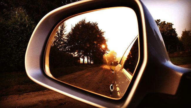 Nature_perfection Rearview Mirror Rear View Car Sunrise_Collection Natureshots Sunrise Germany Colorful Morning Light Dont Look Back Dont Look Back In Anger