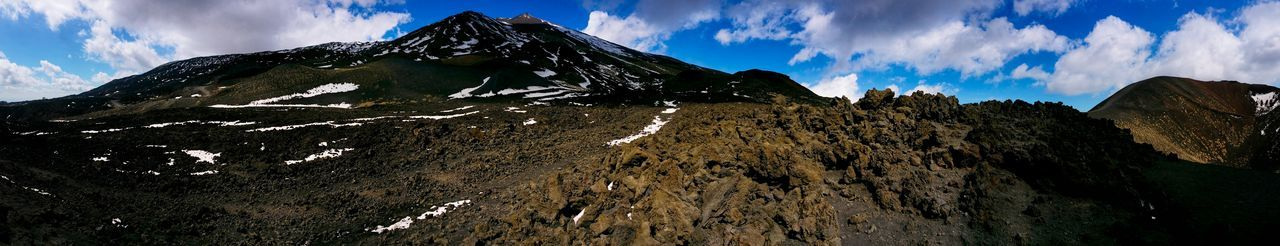 Mount Etna Sicily Italy Travel Photography Travel Voyage Traveling Mobile Photography Fine Art Panoramic Views Nature Volcanoes Vulcanic Cones Vulcanic Craters Sky Dense Clouds Patches Of Sunlight Dark Lava Gravel And Sand Under Dense Clouds Razor Sharp Rocks Snow Mobile Editing The KIOMI Collection