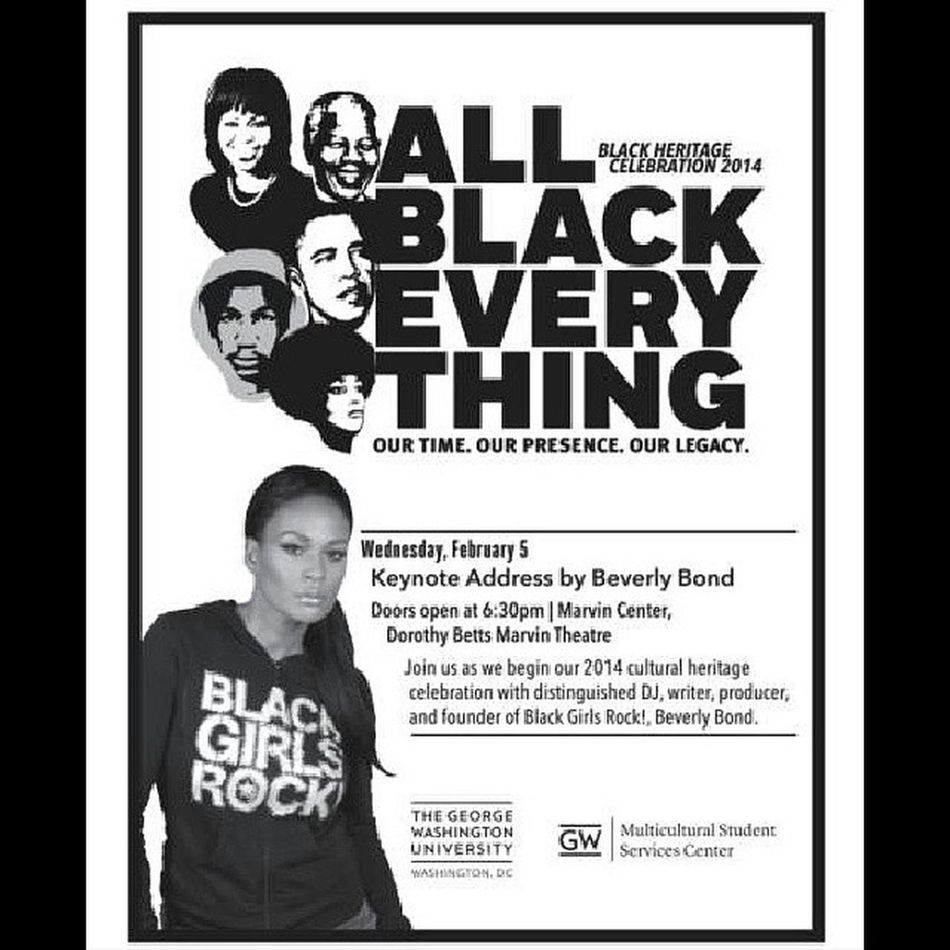 On my way to school for @GWU_BHC14's BHC Keynote Address with @BEVERLYBOND Founder of @BLACKGIRLSROCK! GWU GWBHC14 BeverlyBond Blackgirlsrock BlackHistoryMonth AllBlackEverything Educate Empower Esteem
