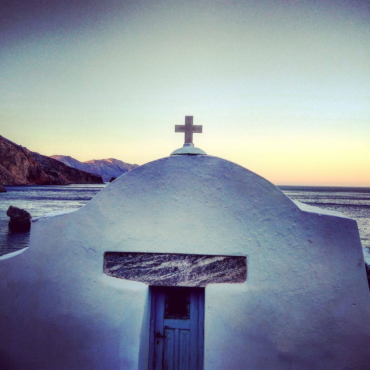 Agiaannaamorgos Amorgos Amorgosisland Sunset Chearch Sea Bleu Sky Sky Relegion Outdoors No People Architecture Nature Day Aegean Sea Vacations Beach Water