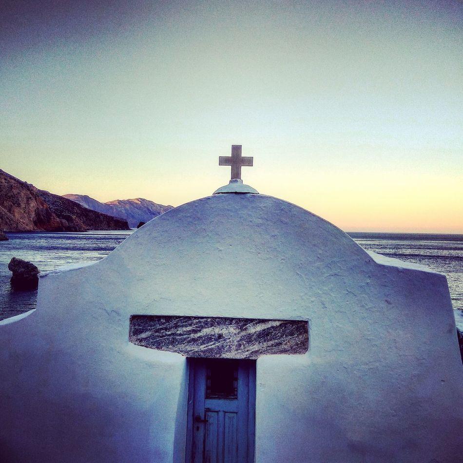 Agiaannaamorgos Amorgos Amorgosisland Sunset Chearch Sea Bleu Sky Sky Relegion Outdoors No People Architecture Nature Day Aegean Sea Vacations Beach Water