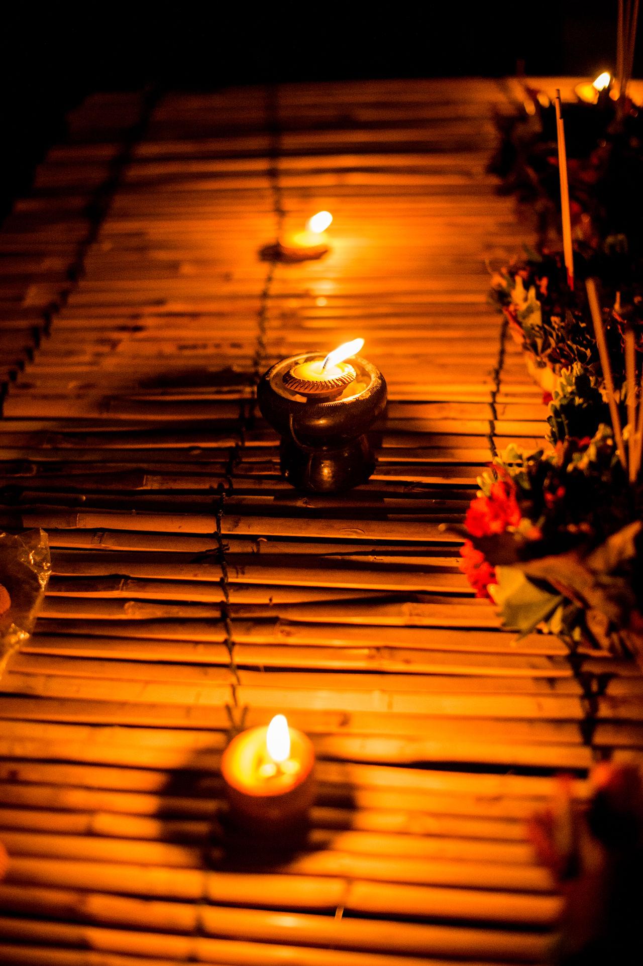 Burning Candle Close-up Diya - Oil Lamp Flame Flower Heat - Temperature Hope Illuminated Indoors  Night No People Oil Lamp Religion Spirituality Tea Light