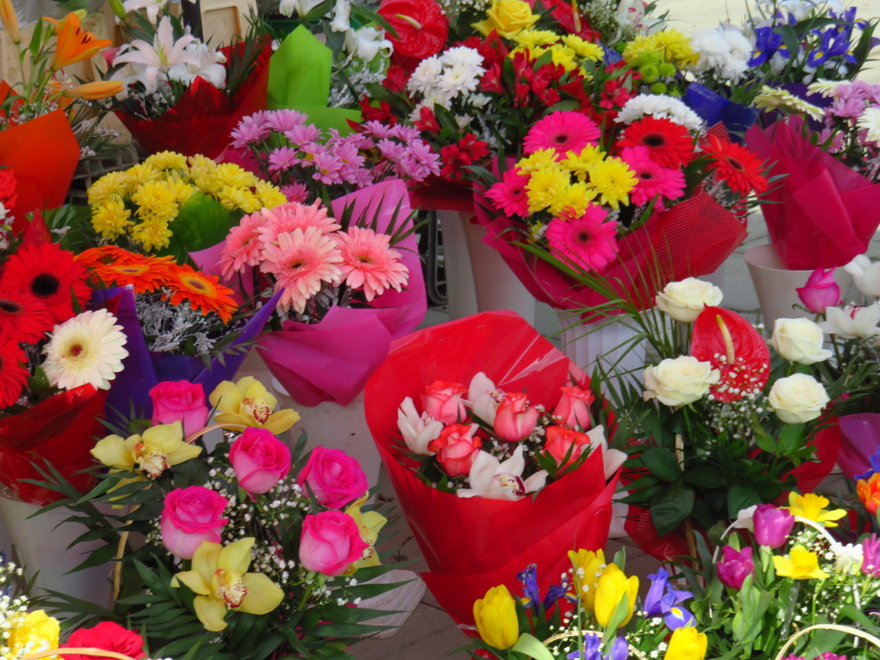 Beauty In Nature Blossom Bouquet Business Close-up Colorful Day Flower Flower Head Flower Market Fragility Freshness Market Multi Colored Nature No People Outdoors Pink Color Variation