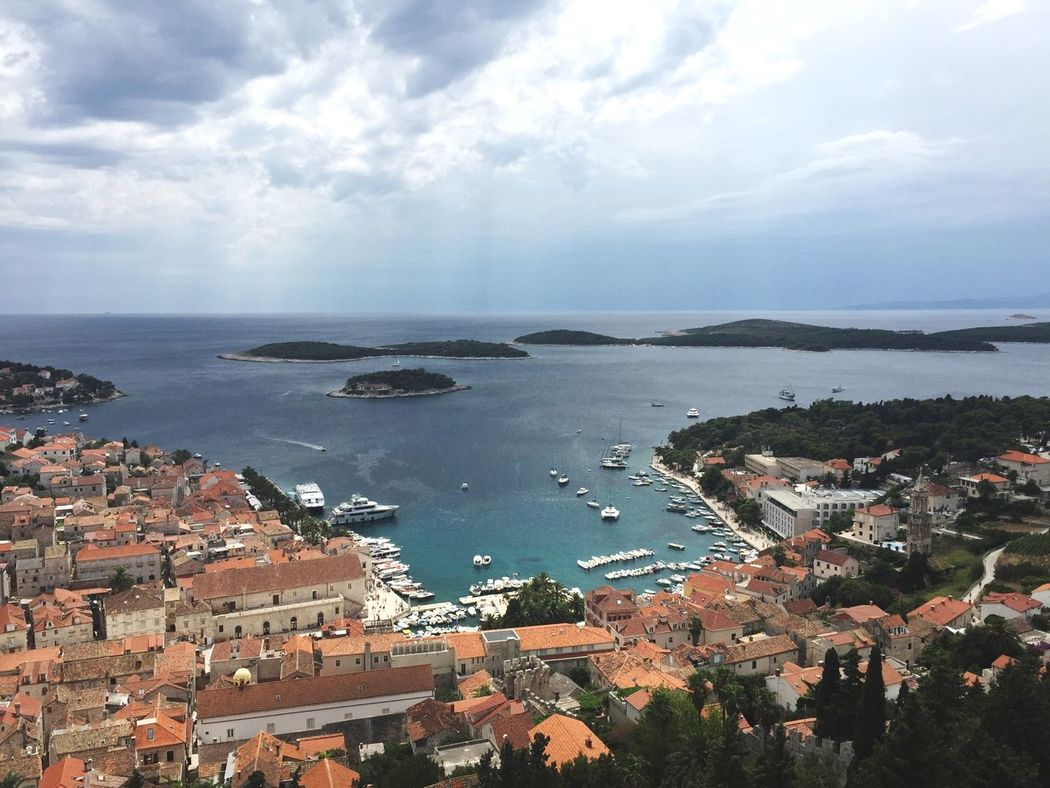 Looking over Hvar from the fortress Hvar Hvar Island Croatia Fortress Aerial View From High Above Europe Summer Blue Sky Sea Sea And Sky Ancient Old City