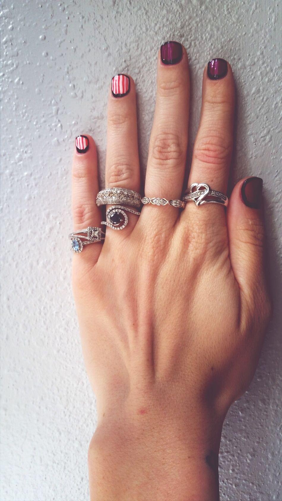 My rings on one hand Diamond Rings Nail Art Black Diamond Birthstone