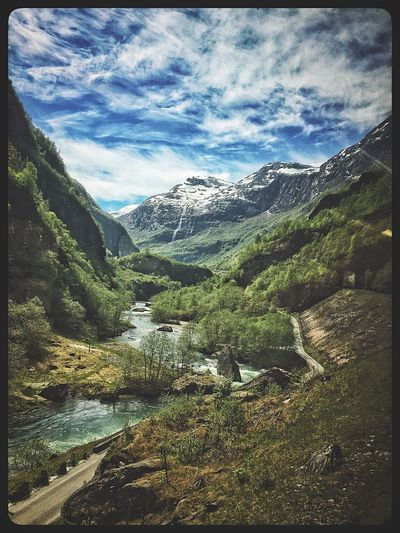 The Great Outdoors - 2017 EyeEm Awards Mountain Mountain Range Nature Beauty In Nature Tranquil Scene Scenics Sky Tranquility Cloud - Sky Day River Idyllic Landscape Outdoors No People Forest Water Tree Travel Destinations Norway Norway🇳🇴