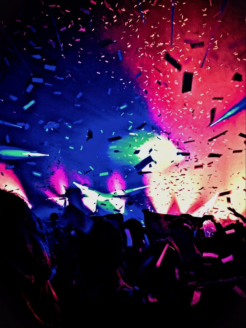 large group of people, arts culture and entertainment, fun, nightlife, enjoyment, multi colored, illuminated, crowd, confetti, real people, indoors, night, leisure activity, excitement, celebration, performance, music, men, popular music concert, nightclub, audience, close-up, people