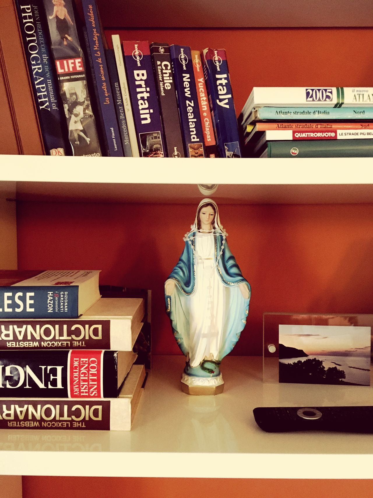 Book Statue Indoors  Bookshelf Sculpture Mary Maria spiritual Religion Spirituality Human Representation Literature Shelf No People Day