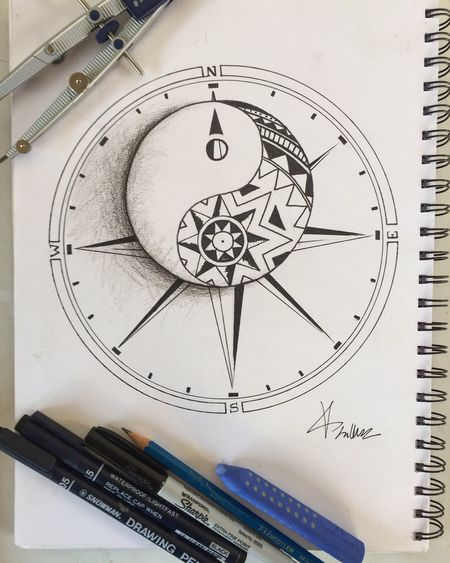 Compass Direction Yingyang Goodandbad Art ArtWork Abstractart Abstract Imagination Sketch Drawing Ink Tattoo Tattooidea Tattoodesign Black And White Ideas Pattern Sketching Tattooing Mono Vasilisland