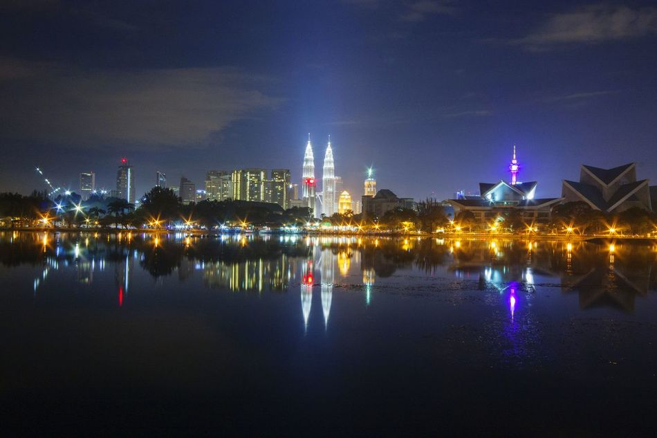 Reflection Night Illuminated Water City Architecture Travel Destinations Cityscape Sky Outdoors No People Business Finance And Industry Malaysia Eyemphotography Vacations Landscape Scenics Skyscraper KLCC Tower Twin Towers /.^ Cityscape Architecture Kuala Lumpur Malaysia  KL TOWER