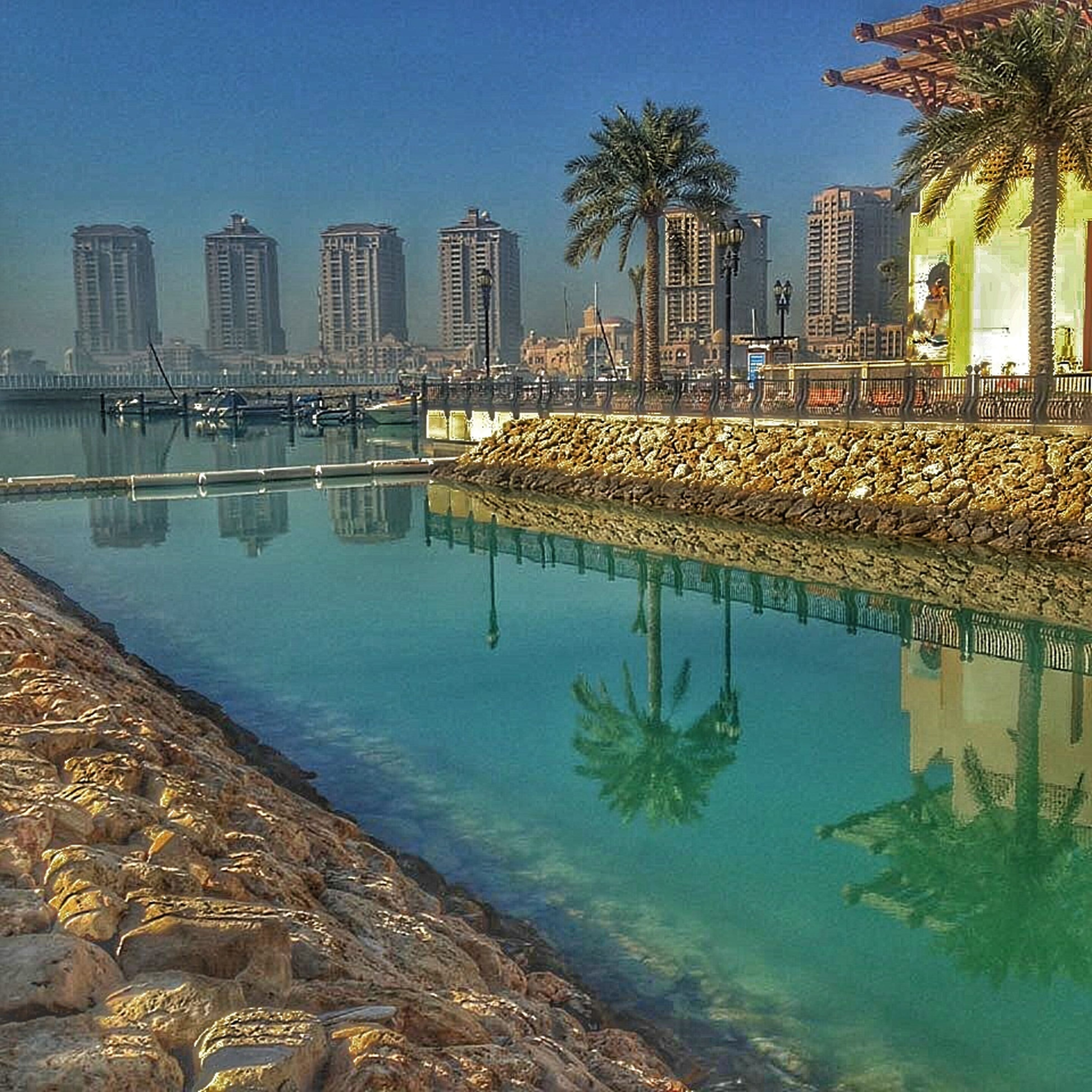 architecture, building exterior, built structure, water, tree, city, palm tree, clear sky, growth, sea, blue, sky, river, cityscape, reflection, residential building, tall - high, outdoors, beach, skyscraper