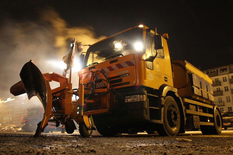 Cold Temperature Early Morning Gritter Lorry Snow Snow-clearer Snowplough Warm Up Winter Winter Services Winterdienst