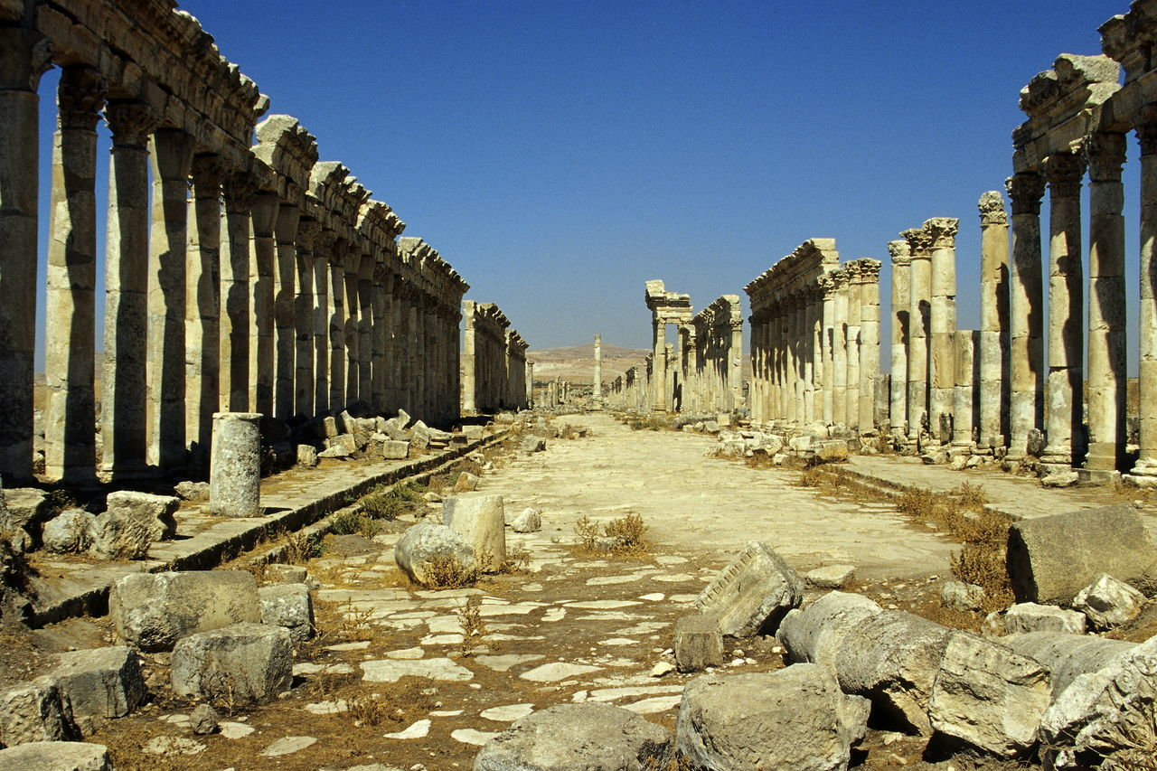 Apamea before the civil war. Antiquity APAMEA Cardo Clear Sky Colonnade Columns Day Great Colonnade No People Outdoors Roman Roman Antiquity Roman Cardo Shadow Sky Stone Stone Columns Sunlight