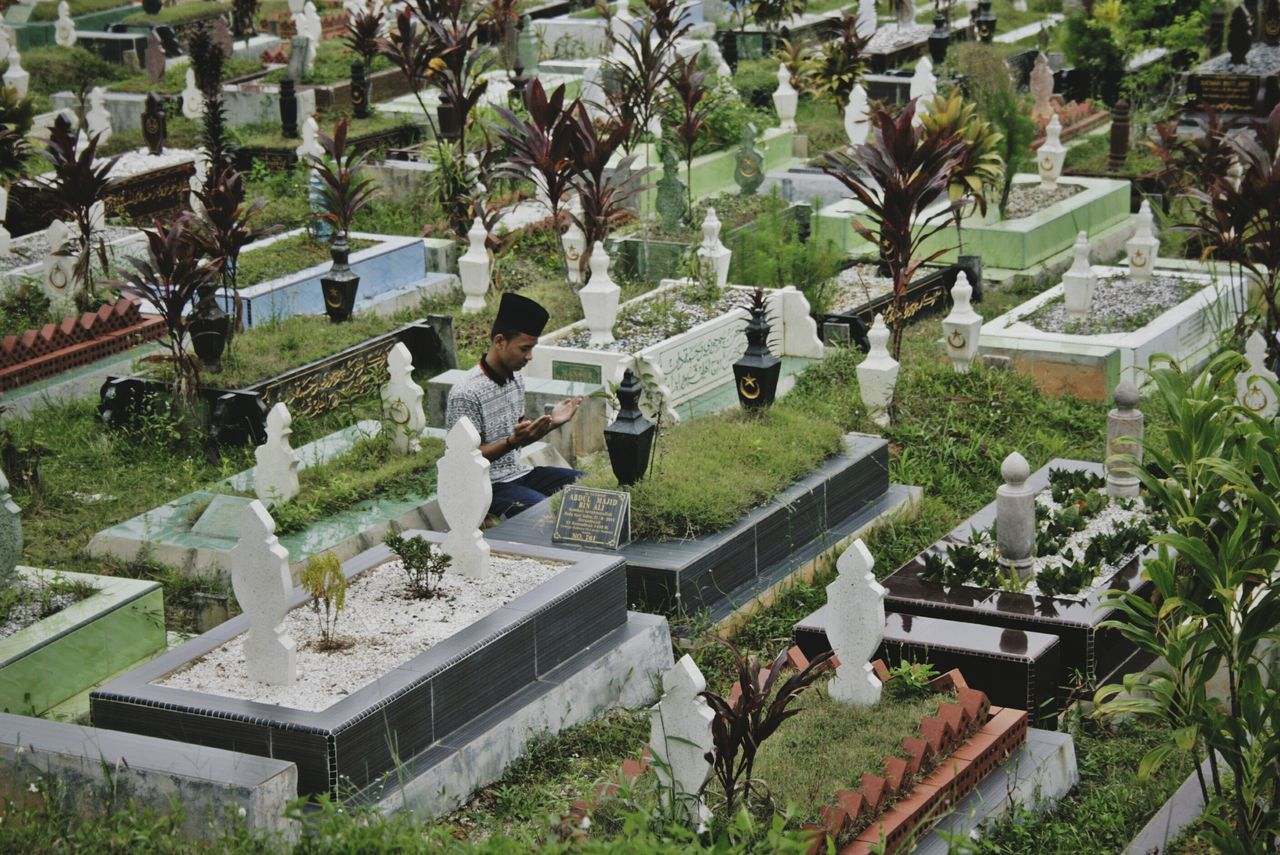 High Angle View Plant Tree Outdoors Ornamental Garden Garden People Potrait Of Man Large Group Of People Nature Day Adults Only Adult Graveyard Graveyard Beauty EyeEm Best Shots Tradition Hope Pray Talent Beautifully Organized Adults Only Growth Graveyard Collection in Johor, Malaysia